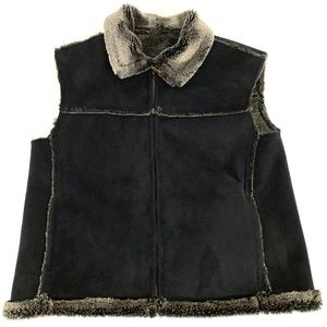 Montana Faux Fur Suede Vest Brown Women Sz Medium